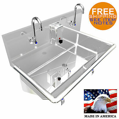 "Hand Sink 36"" 2 Users Multistation Hands Free Basin Lavabo Stainless Steel"