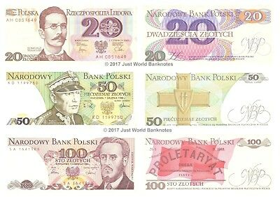 Poland  20 + 50 + 100 Zlotych Set of 3 Mint Uncirculated UNC Banknotes 3pcs
