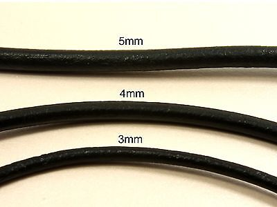 1M or 2M x Genuine Round LEATHER CORD Findings for Bracelet Necklace 3mm 4mm 5mm