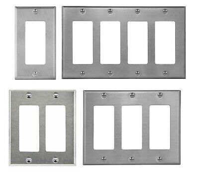 Brushed Stainless Steel Outlet Covers Decorator GFCI Rocker Switch Wall Plates