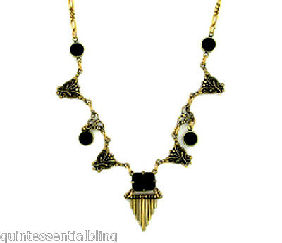 24k Gold Plated Art Deco Vintage Jet Black Austrian Crystal Necklace