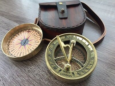 Brass Pocket Sundial Compass w/ Cover & Leather Case ~ Nautical Maritime