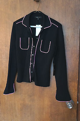 BCBG Black and Hot Pink Trim: Shell and Cardigan