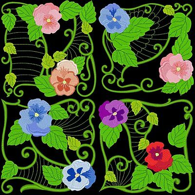 Pansy Blocks - 30  Machine Embroidery Designs (Azeb)