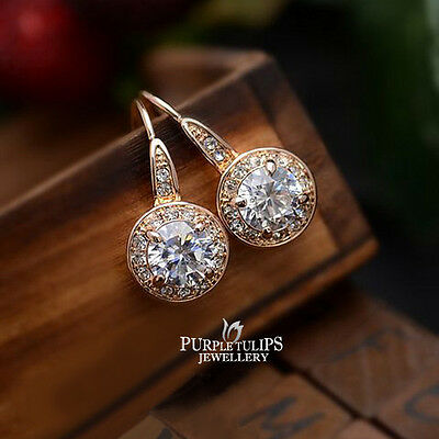 18K Rose Gold Plated Round Cut  Dangle Earrings Made With Swarovski Crystals