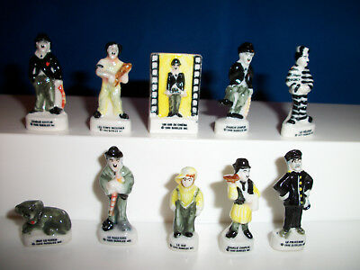 CHARLIE CHAPLIN The LITTLE TRAMP Set of 10 Mini Figurines FRENCH Porcelain FEVES