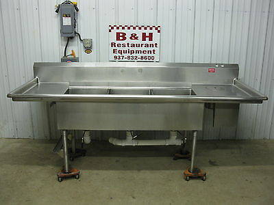 "96"" Stainless Steel 3 Bowl 18"" x 22"" Compartment Sink w/ 2 Drain Boards 8'"