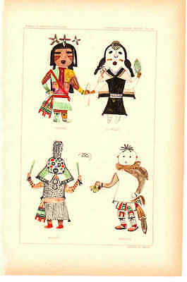 "Antique Prints - Hopi Kachinas - Late 1800's - ~7 x 11"" - Select 1 from Group B"