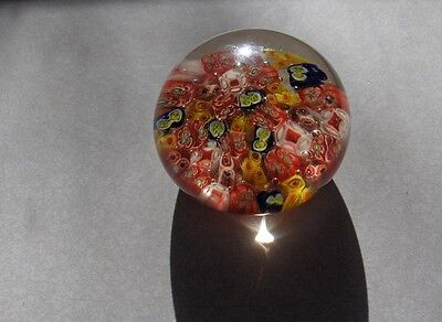 Vintage Millefiori Art Glass Crystal Hand Blown Paperweight Bold Bright Colors