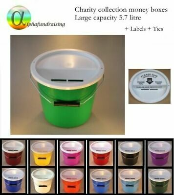 Charity Collection Donation Bucket/Box With Lid +Label + Ties + New Steel Handle