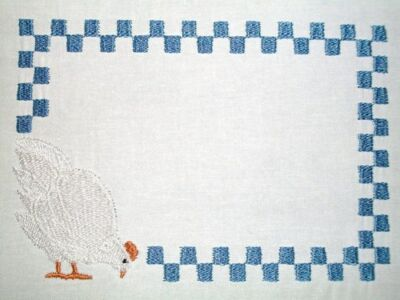 Chicken Hen Embroidered Quilt Label Customize for quilt tops or blocks