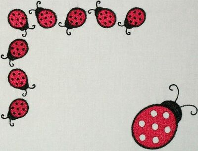 Ladybug Embroidered Quilt Label Customize for quilt tops or blocks