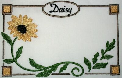 Daisy Embroidered Quilt Label Customize for quilt tops or blocks