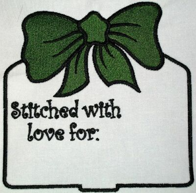 Christmas Tag & Bow Embroidered Quilt Label Customize for quilt tops or blocks