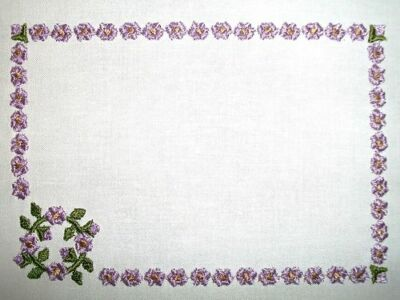 Hollyhock Embroidered Quilt Label Customize for quilt tops or blocks