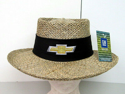 Late Model Chevrolet Bowtie Embroidered Gm Licensed Straw Style Hat