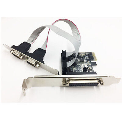 PCIe PCI Express 2 Serial RS232 DB9 & 1 Parallel ports card Low Profile