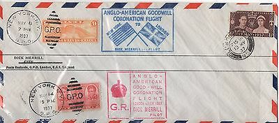 Gb Cover To Usa. Anglo American Goodwill Coronation Flight. 1937. Dick Merill Pt