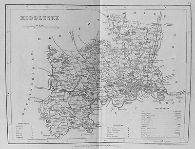 OLD ANTIQUE MAP MIDDLESEX by J ARCHER c1840's LONDON 19th CENTURY ENGRAVING