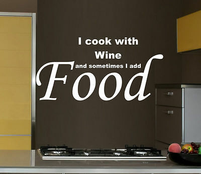 I COOK WITH WINE.. KITCHEN wall sticker decor art Quote