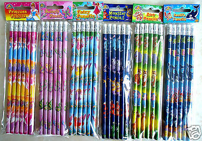 Childrens Character Pencils Kids Girls Party Bag Fillers - Choose Design & Qty