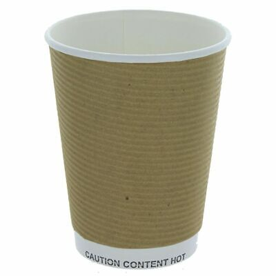 500 x Ripple Brown Kraft Insulated 16oz Cup Coffee Tea Disposable Cups