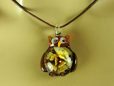 DICHROIC GLASS LAMPWORK AMBER/YELLOW SHADES OWL PENDANT NECKLACE WITH BROWN CORD
