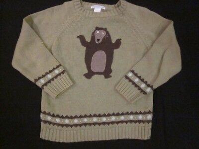 Janie & Jack AUTUMN TIMBER boys green brown bear pullover sweater 5 5T