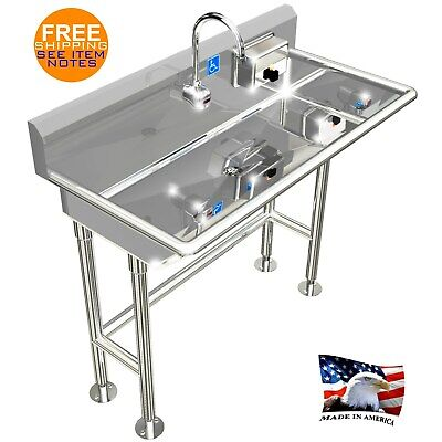 """Ada Hand Wash Sink 1 Station 40"""" Electronic Faucet Free Standing Stainless Steel"""