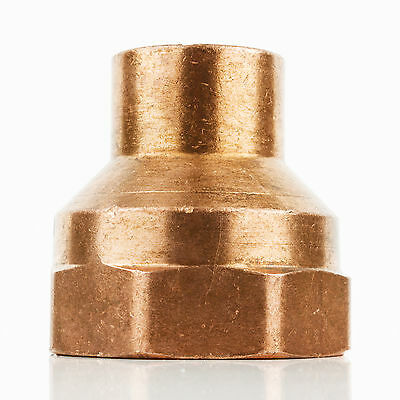 "1-1/2"" x 2"" CxF Reducing Copper Adapter Sweat x FIP Thread Plumbing Fitting"