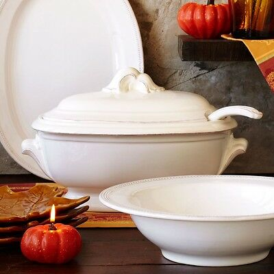BAROQUE , ANTIQUE WHITE SOUP TUREEN WITH LADLE! VERY ELEGANT!