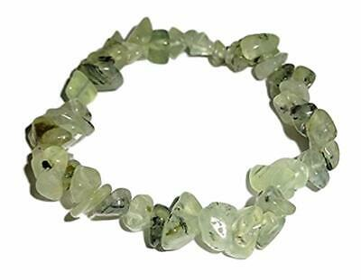 "Green Garnet Healing Crystal Gemstone 7"" Chip Stretch Bracelet"
