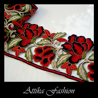 EMBROIDERED LACE TRIM - Red Black Flower Leaf Motif Edging 0.5y - VERY WIDE 11cm