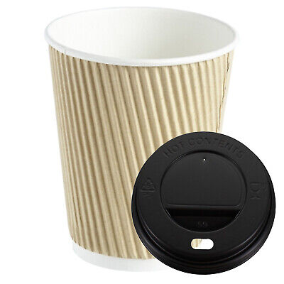 100 X Brown Kraft  Ripple 16oz Cups & Black Lids  Insulated Coffee Tea Cup