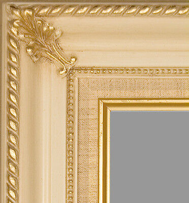 "PICTURE FRAME WOOD EGG WHITE GOLD ORNATE PORTRAIT ART PHOTO 3.25"" VARIOUS SIZES!"