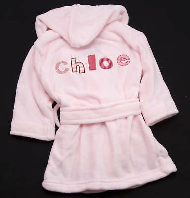 Baby & Little Girls Pink Personalised Embroidered Dressing Gown New Gift