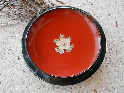 Korean Laquered wood Bowl with Mother of Pearl-inlaid-Floral Center. Beautiful.