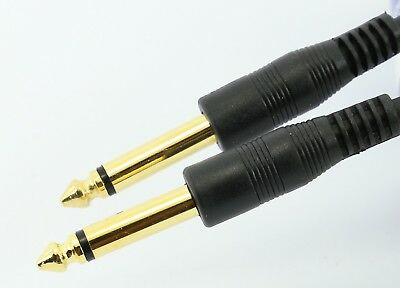 """1m Guitar Lead Cable 6.35mm Jack to Jack Mono Plug Keyboard Amp 1/4"""" Electric"""