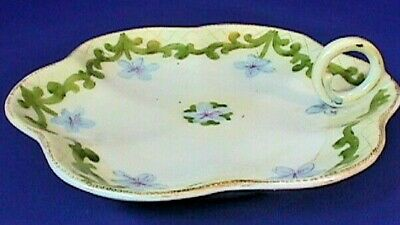 Antique Nippon Hand Painted China  Handled Server Sauce Dish Very Rare Pattern