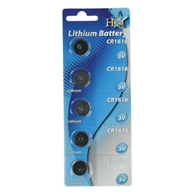 5 x CR1616 3V Lithium Battery Batteries - Often used in watches / car key fobs