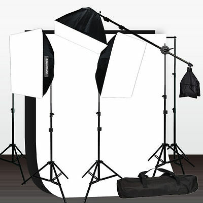 10 x 12 ft. BW Backdrop Support Stand Photography Video 3 Softbox Lighting Kit