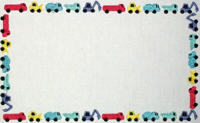 Construction Vehicles Embroidered Quilt Label Customize for quilt tops or blocks