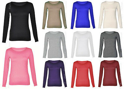 Womens Long Sleeve Stretch Scoop Neck T Shirt Top 8-26