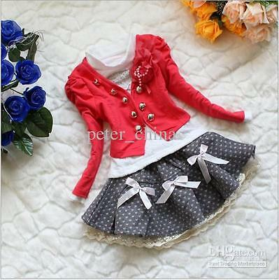 Girls 3 peice outfit red white jacket tutu skirt wedding party  luxury suit