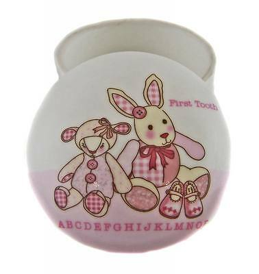 Pink Baby Girl Porcelain 1st Tooth Keeper Keepsake Trinket Box Nursery Gift NEW