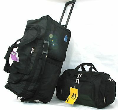 "30"" 50LB CAP. 2PC SET WHEELED ROLLING DUFFLE BAG LUGGAGE W MATCHING 20"" CARRY ON"