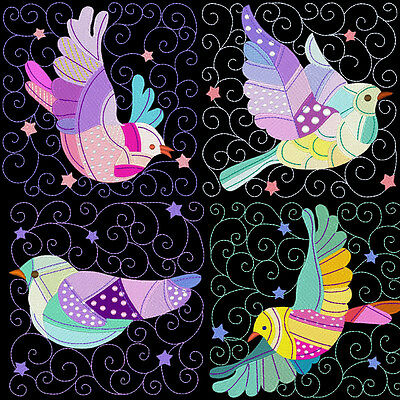 Beautiful Patchey Doves  - 30 Machine Embroidery Designs (Azeb)