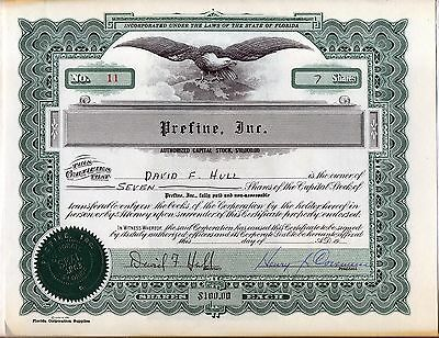 Prefine, Inc. Stock Certificate Florida