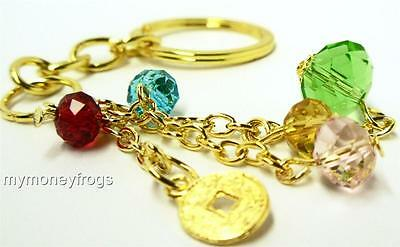Feng Shui I Ching Crystal Faceted ball Gold COIN Key Chain Lucky Charm NEW #CKe
