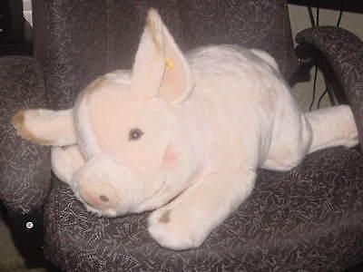"24"" Steiff Jumbo Pig Plush Toy With Button & Tag In Ear Number 105364"